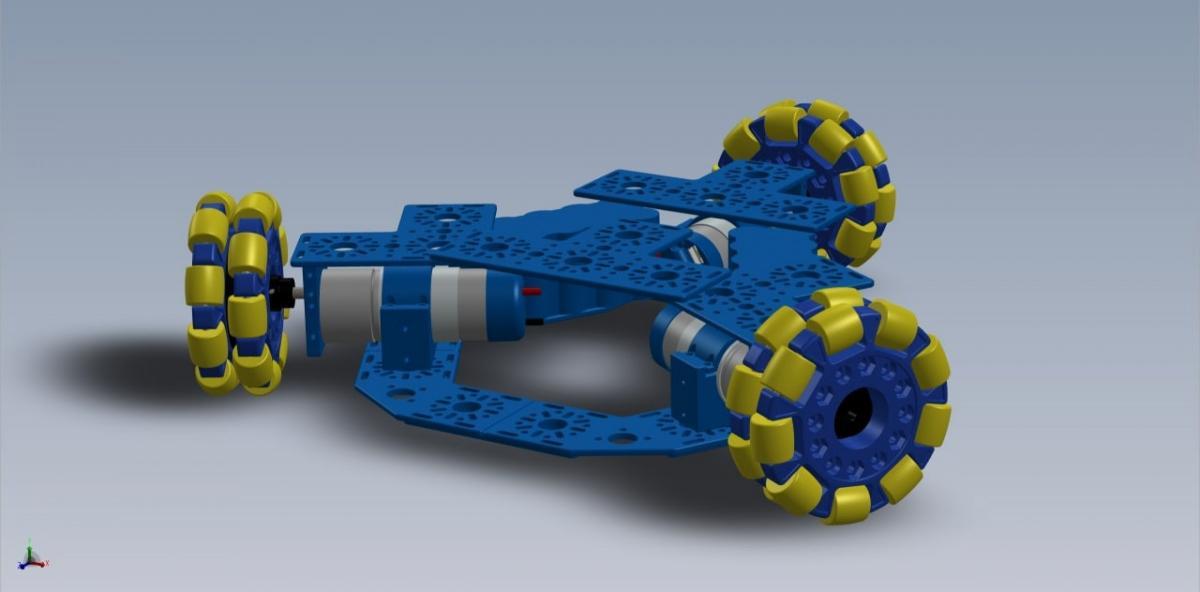 Вид сбоку на основу робота. 3D-модель